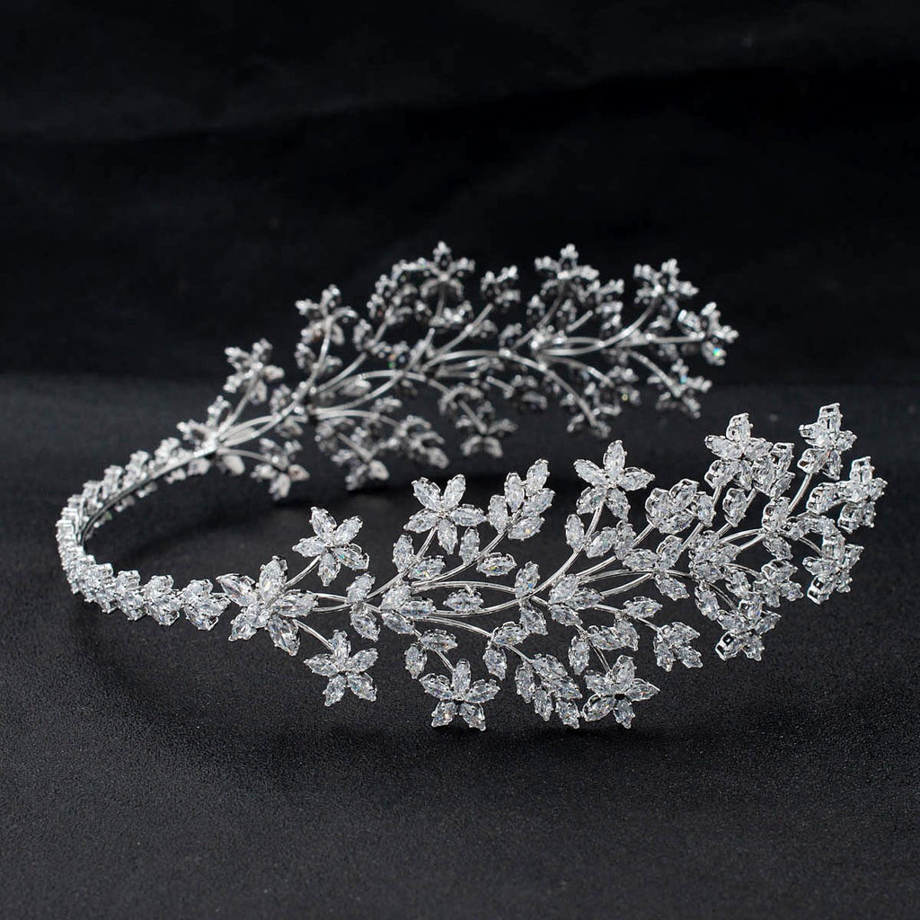 3/4 Round Cubic Zirconia Bridal Wedding Headband Hair Band Tiara for Women CHA10053 - sepbridals