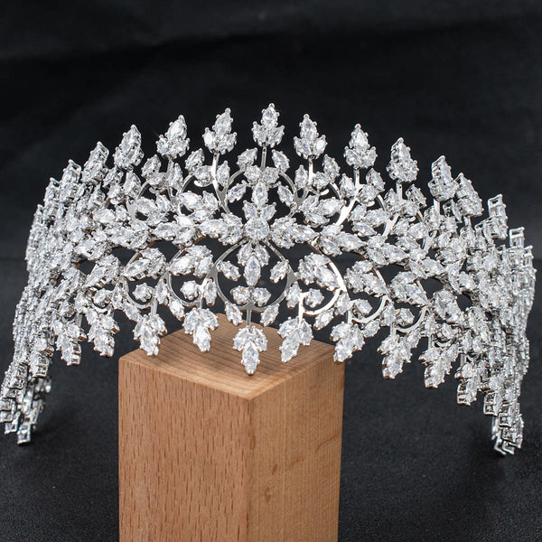 Wide Cubic Zirconia Bridal Wedding Soft Headband Tiara for Women CHA10040