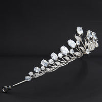Cubic Zirconia Small Size Leaves Wedding Tiaras Crown for Little Flower Girl HG7054