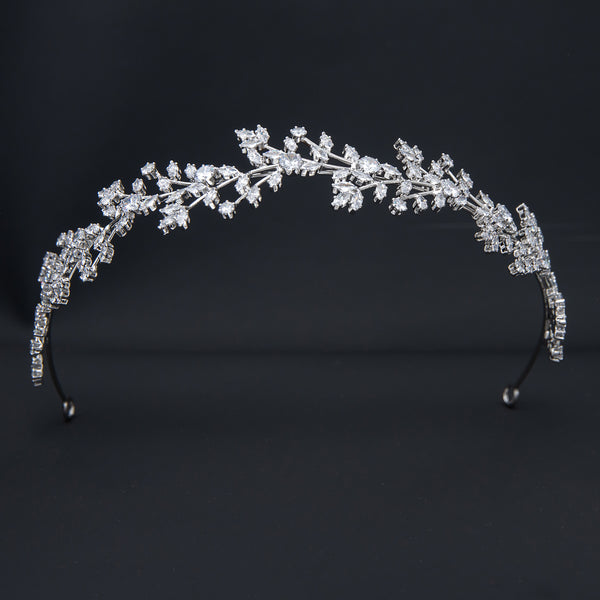 Cubic Zirconia Soft Headband for Wedding,Crystals Bride Tiara Girl Hair Jewelry HG110