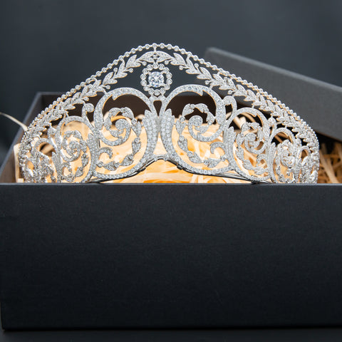 Zirconia Royal Replica Tiara for Wedding,Crystal Vintage Queens Tiaras for Bride CH10344