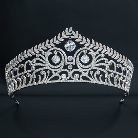 Zirconia Royal Replica Tiara for Wedding,Crystal Leaves Tiaras for Bride CH10355