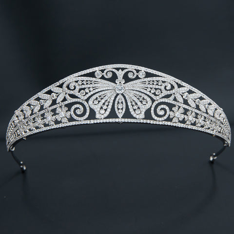 Cubic Zirconia Butterfly Royal Tiara Wedding,Crystal Tiaras for Bride Party Jewelry CH10359