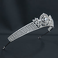 Cubic Zirconia Leaves Royal Tiara Wedding,Crystal Tiaras for Bride Party Jewelry H10357