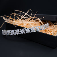 Cubic Zirconia Soft Simple Headband for Wedding,Crystals Bride Tiara Hair Jewelry HG113
