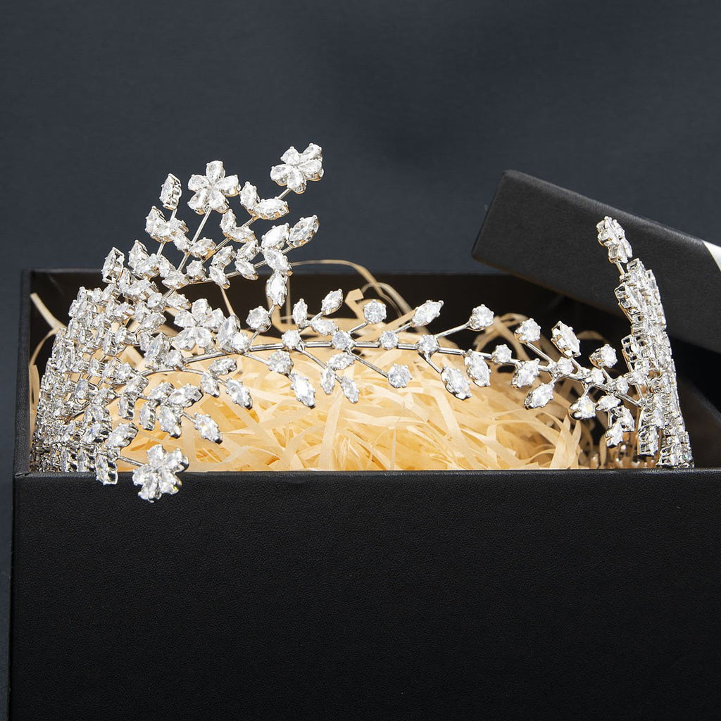 3/4 Round Cubic Zirconia Bridal Wedding Big Headband Hair Band Tiara for Women HG112 - sepbridals