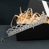 Cubic Zirconia Classic Tiara for Wedding,Princess Crystal Tiaras Diadem for Girl CH10372