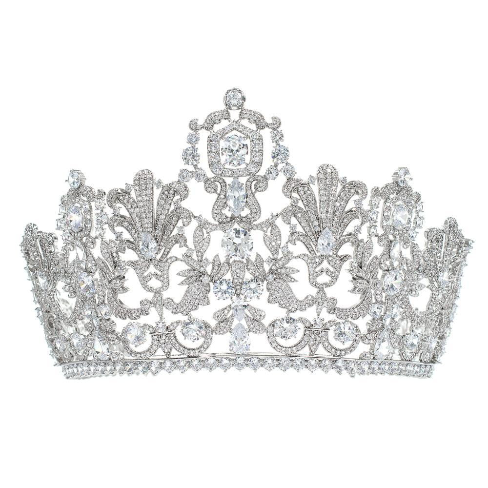 10.5CM Cubic Zirconia Luxembourg Replica  Large Tiara for Wedding,Queens Tiaras HG026 - sepbridals