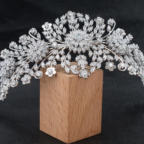 Crystal Cubic Zirconia Bridal Wedding Bridal Soft Flower Headband Tiara CHA10042