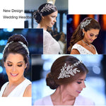 3/4 Round Cubic Zirconia Bridal Wedding Leaves Headband Hair Band Tiara for Women CHA10046