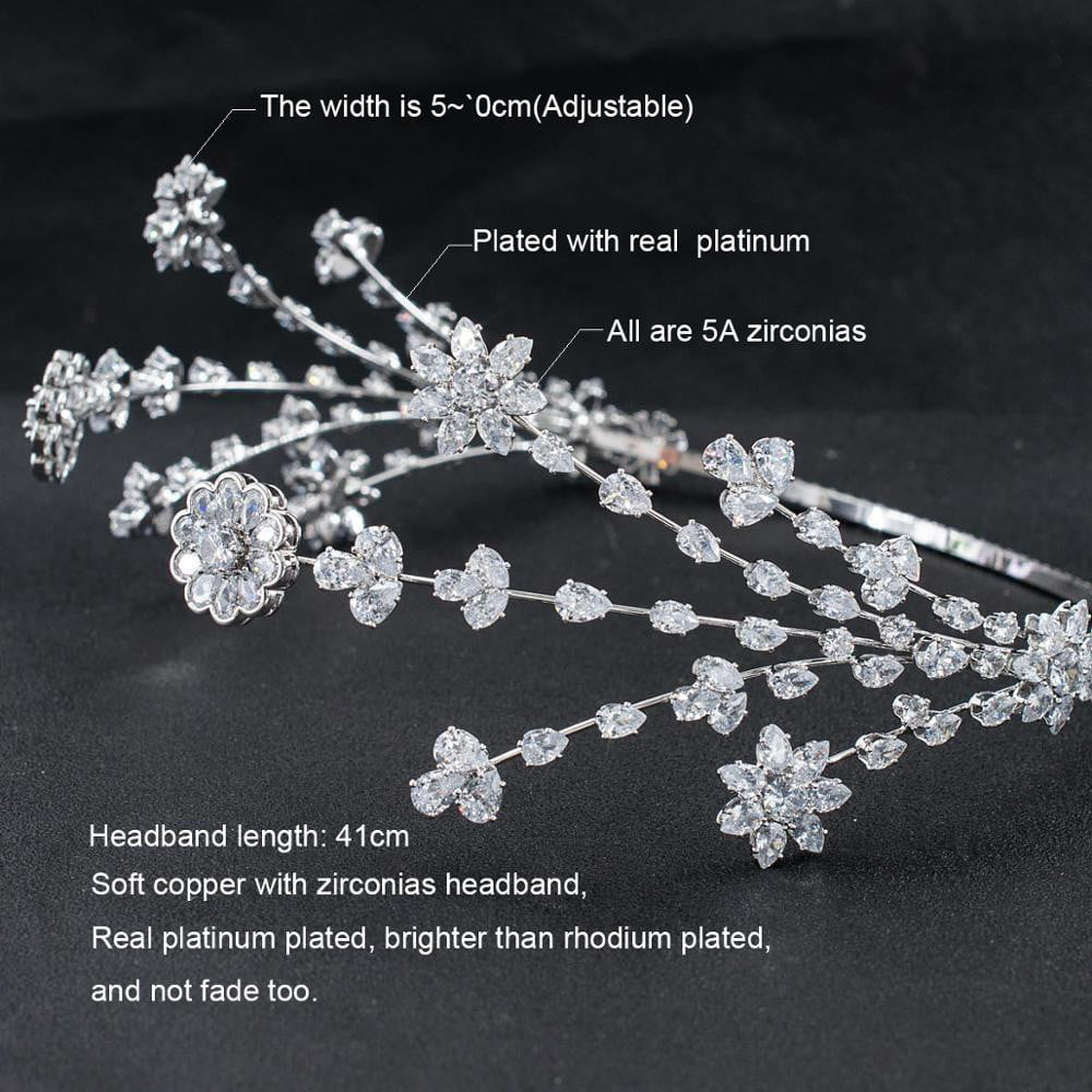 3/4 Round Cubic Zirconia Bridal Wedding Leaves Headband Hair Band Tiara for Women CHA10046 - sepbridals