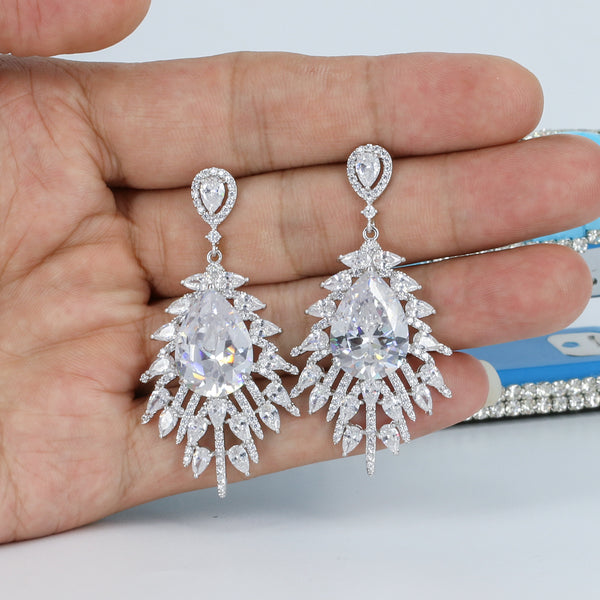 Silver Tone Wedding  Cubic Zircon CZ Water Drop Dangle Earring CE10102 - sepbridals
