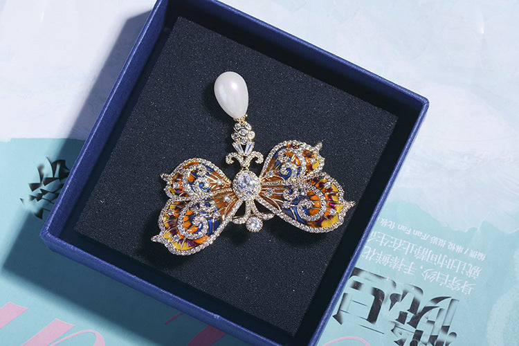 Luxury Cubic Zircon CZ Drop Oil Butterfly Brooch XR01346 - sepbridals