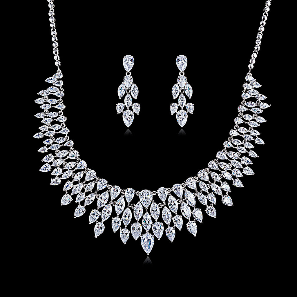 Cubic zirconia bride wedding necklace earring set top quality  CN10184 - sepbridals