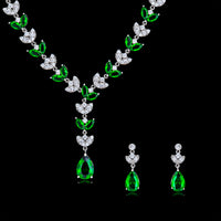 Cubic zirconia bride wedding necklace earring set top quality CN10117 - sepbridals