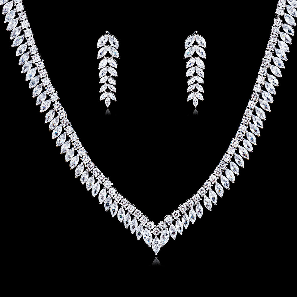 Cubic zirconia bride wedding necklace earring set top quality CN10084 - sepbridals
