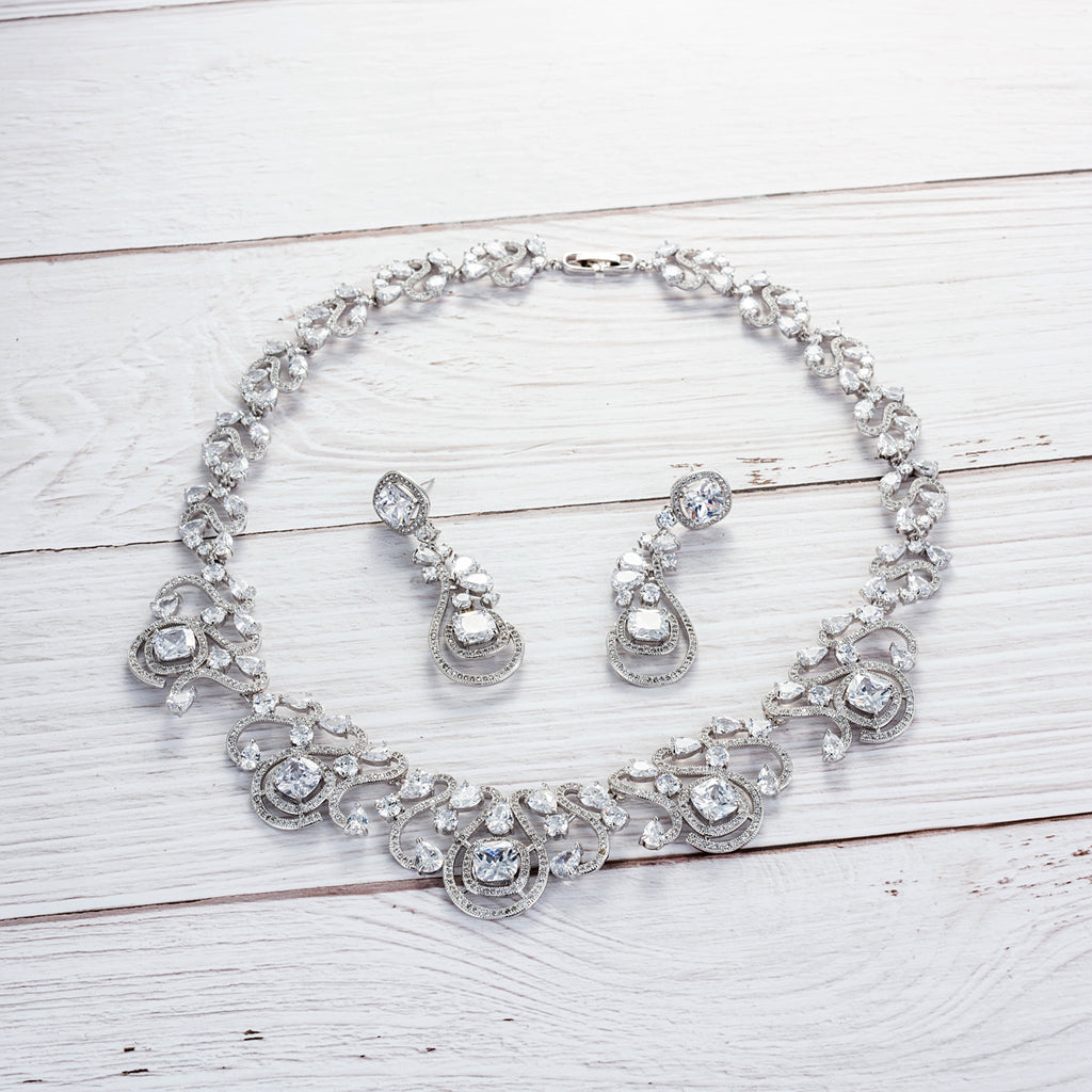 Cubic zirconia bride wedding necklace earring set top quality CN10161 - sepbridals