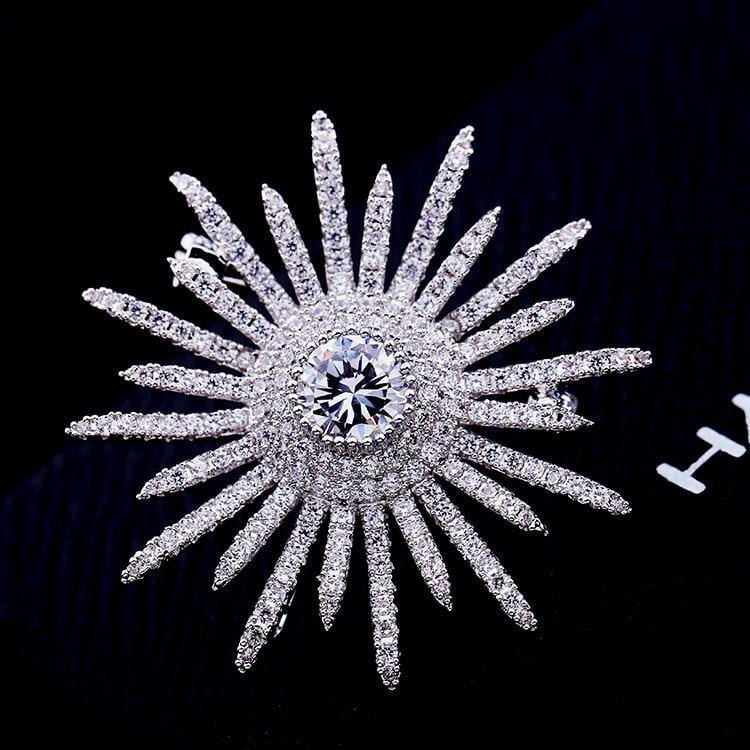Crystal Cubic Zirconia Sun Flower Brooch Broach Pin Pendant HR00854 - sepbridals