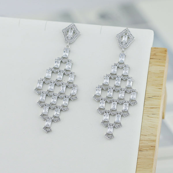 Cubic Zircon CZ Copper Wedding Dangle Wedding Earring  CE10245 - sepbridals
