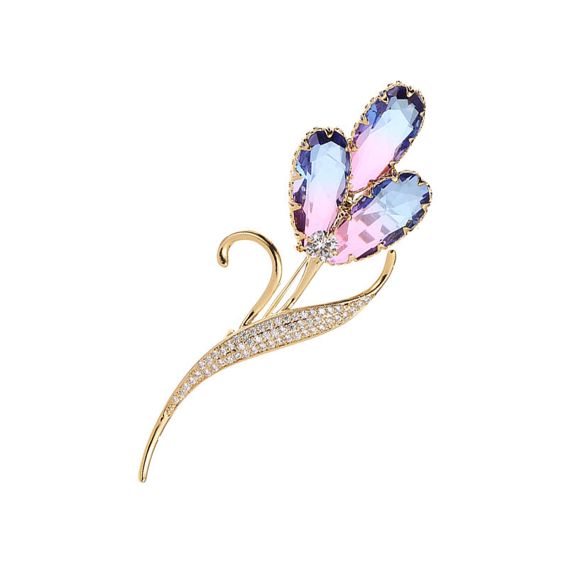 rendy Crystal Cubic Zirconia Color tourmaline Flowers Brooch XZ00057 - sepbridals