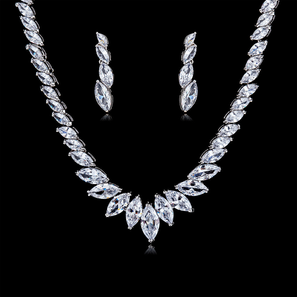 Cubic zirconia bride wedding necklace earring set top quality  CN10135 - sepbridals