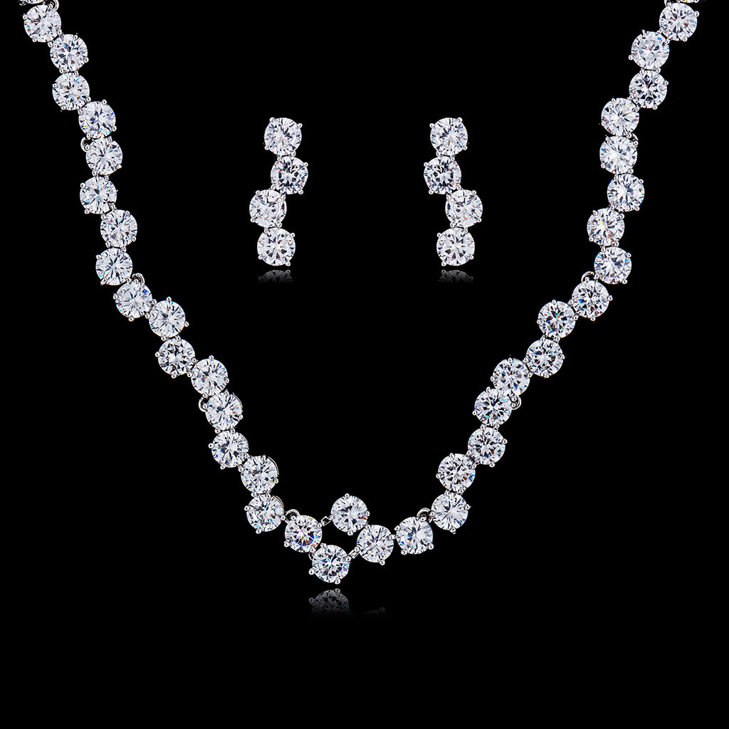 Cubic zirconia bride wedding necklace earring set top quality  CN10047 - sepbridals