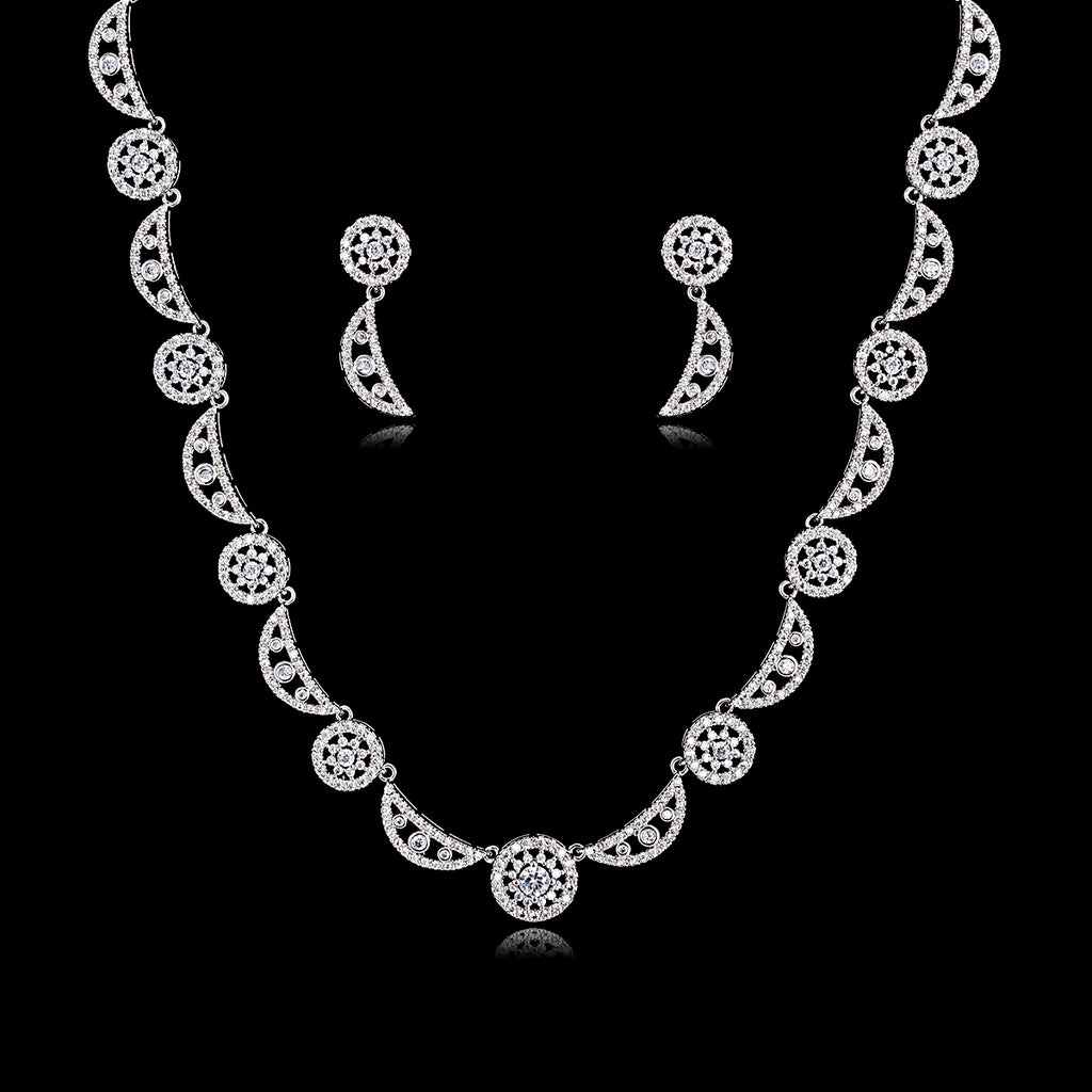 Cubic zirconia bride wedding necklace earring set top quality CN10147 - sepbridals