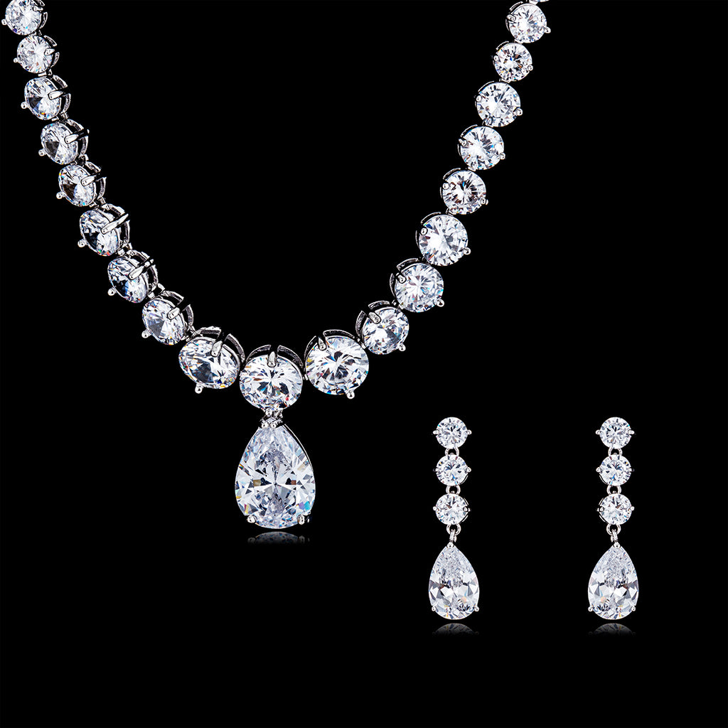 Cubic zirconia bride wedding necklace earring set top quality CN10089 - sepbridals