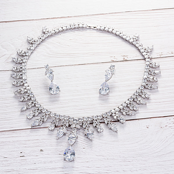 Cubic zirconia bride wedding necklace earring set top quality  CN10160