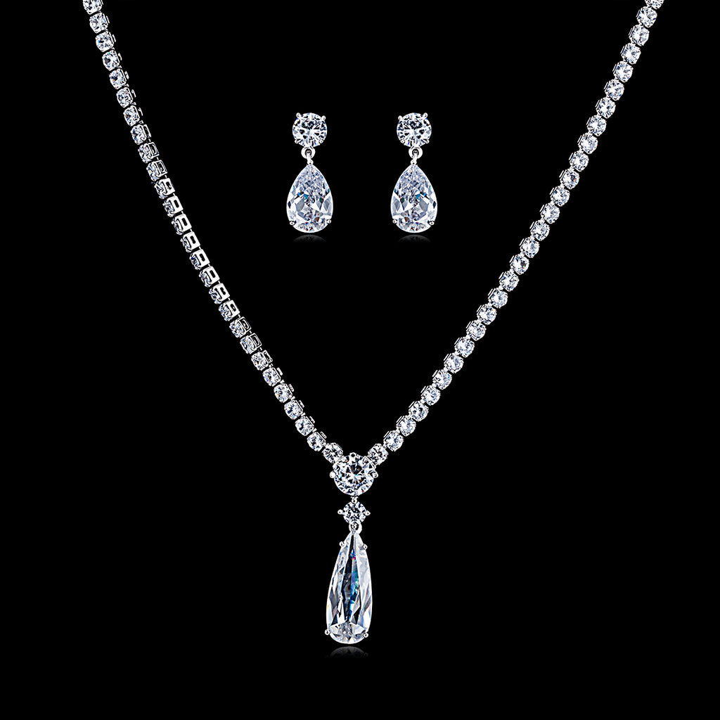Cubic zirconia bride wedding necklace earring set top quality  CN10192 - sepbridals