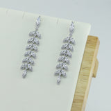 Cubic Zirconia Drop Dangle Bridal Wedding Leaf Earring CE10081 - sepbridals