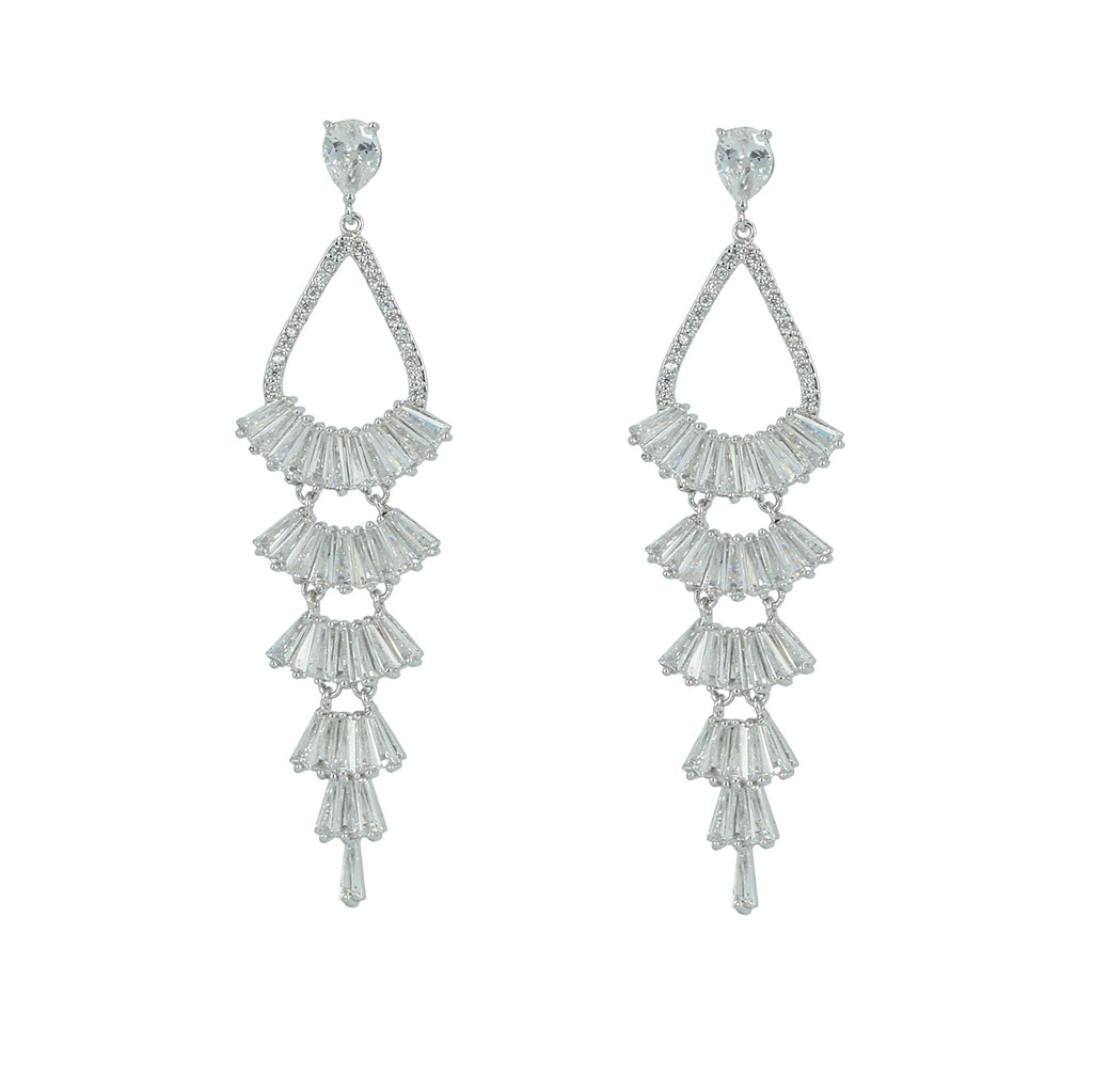 Silver Tone Cubic Zirconia Wedding Dangle Earrings CE10177 - sepbridals