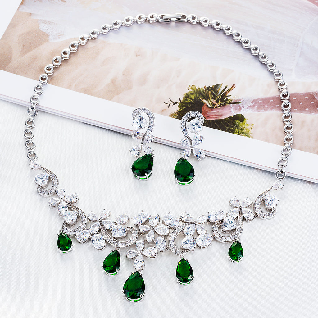 Cubic zirconia bride wedding necklace earring set top quality  CN10095 - sepbridals