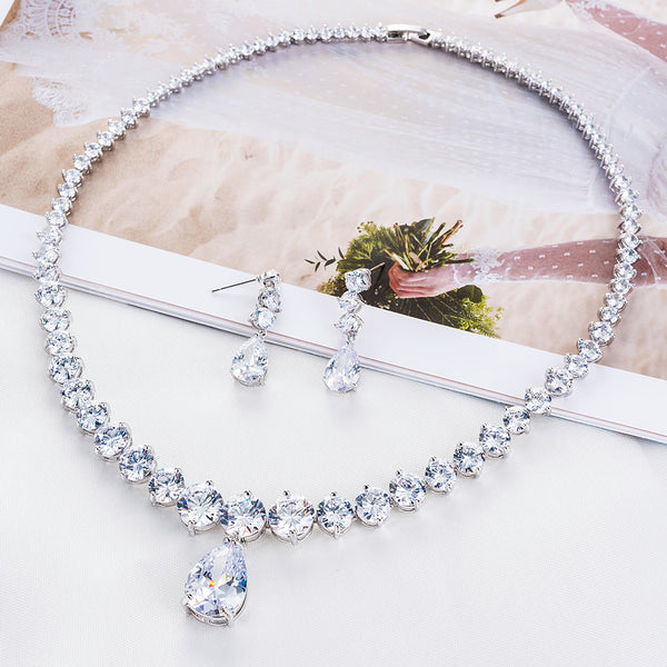 Cubic zirconia bride wedding necklace earring set top quality CN10089