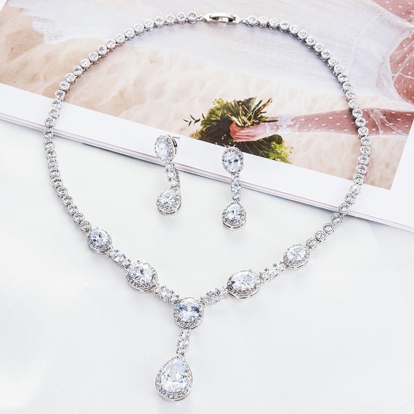 Cubic zirconia bride wedding necklace earring set top quality  CN10053