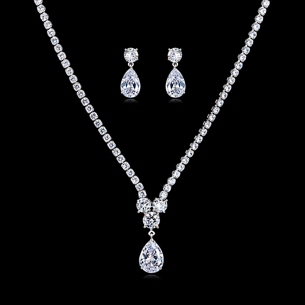 Cubic zirconia bride wedding necklace earring set top quality  CN10131 - sepbridals