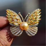 Crystal Cubic Zirconia Pearl Butterfly Brooch Broach Pin BR8110903 - sepbridals