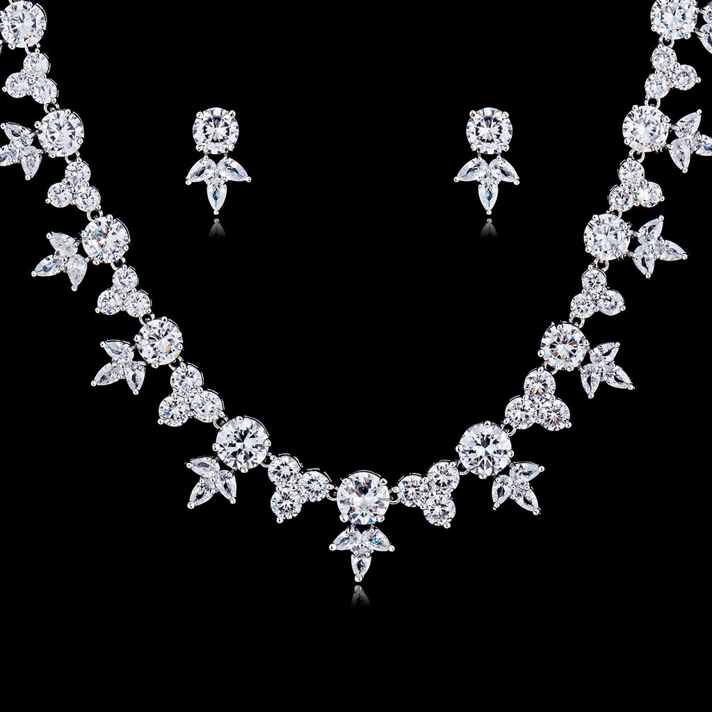 Cubic zirconia bride wedding necklace earring set top quality CN10128 - sepbridals