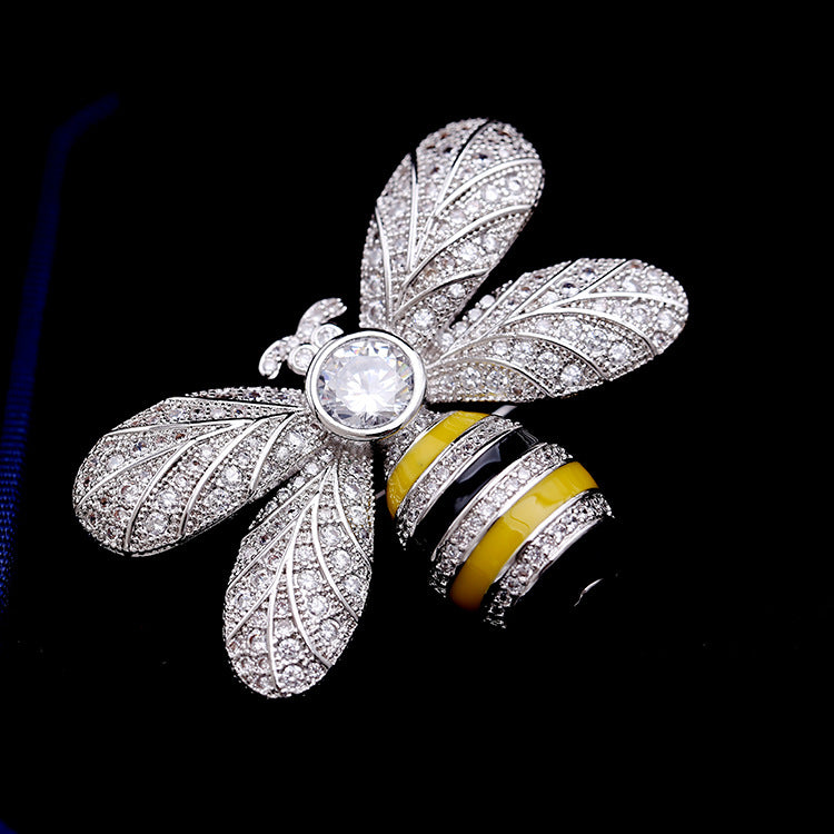 Zircon Insect Bee Brooch Broach Pin HR002010SIL - sepbridals