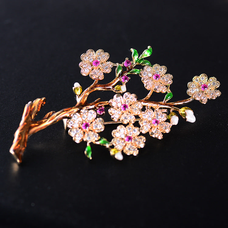 Fashion Vintage Plum Blossom Flower Cubic Zirconia Brooches  XR02493D - sepbridals
