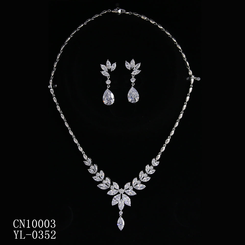 Cubic zirconia bride wedding necklace earring set top quality  CN10003 - sepbridals