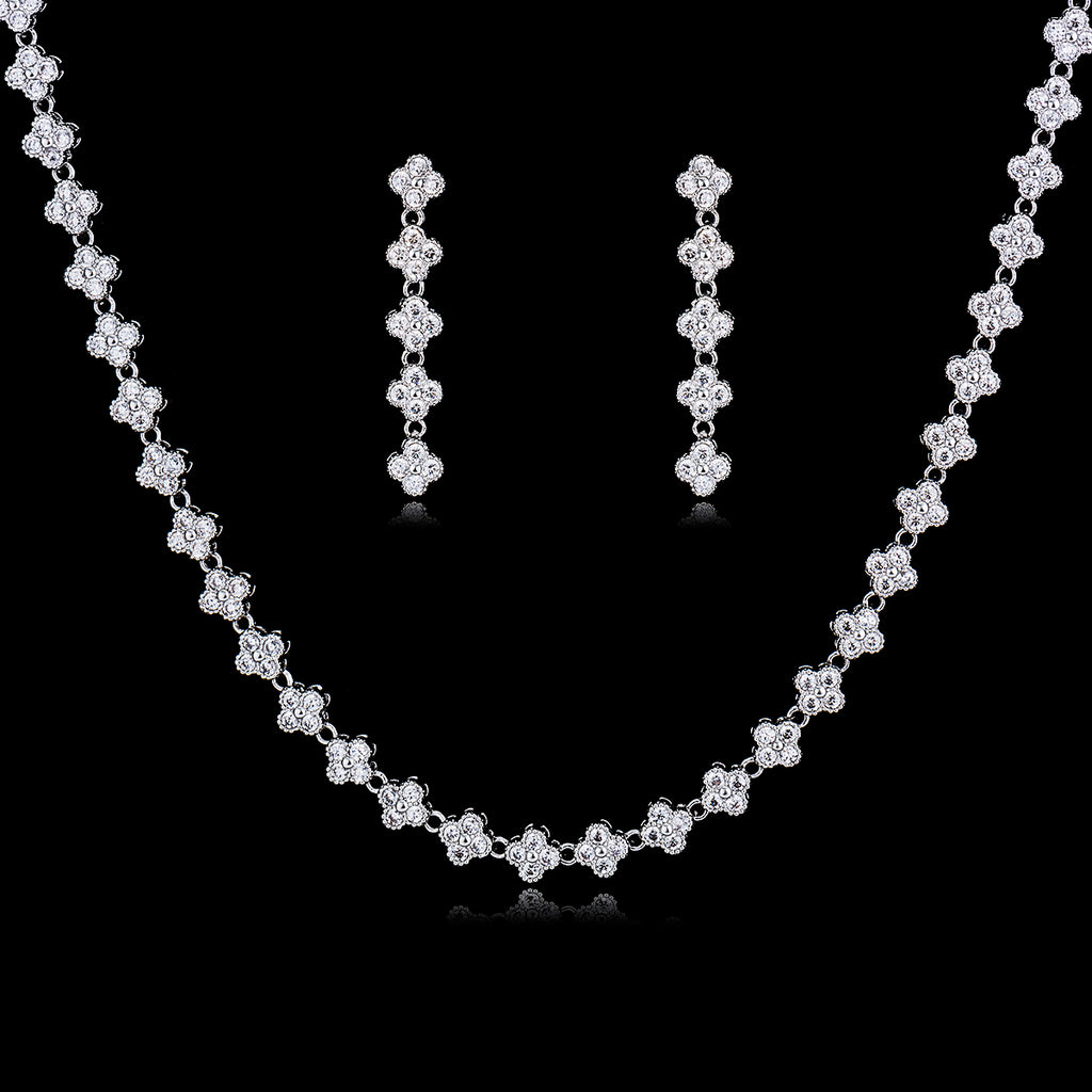 Cubic zirconia bride wedding necklace earring set top quality  CN10027 - sepbridals