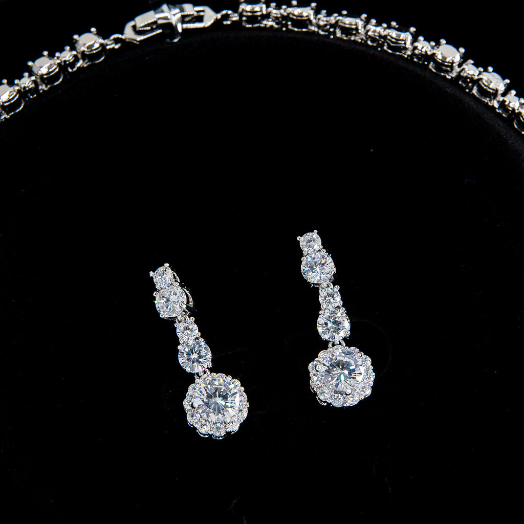 Cubic zirconia bride wedding necklace earring set top quality  CN10168 - sepbridals