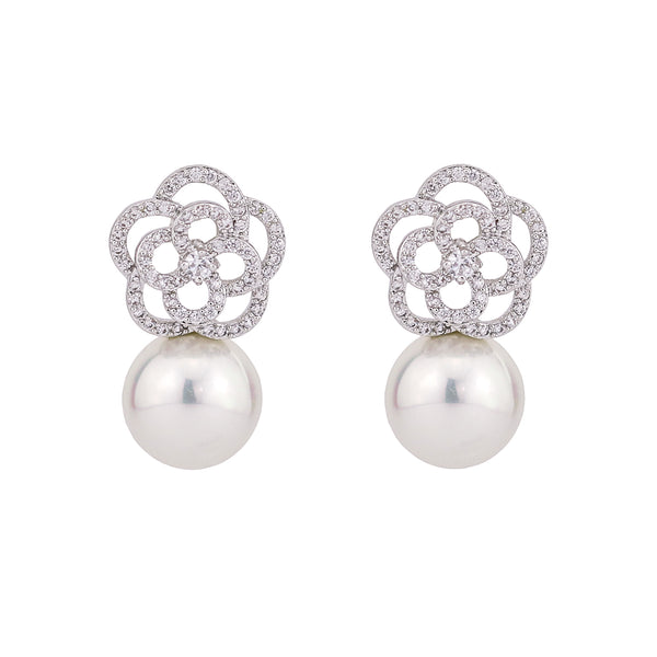 Cubic Zirconia CZ Pearl Wedding Flower Stud Earring CE10285 - sepbridals