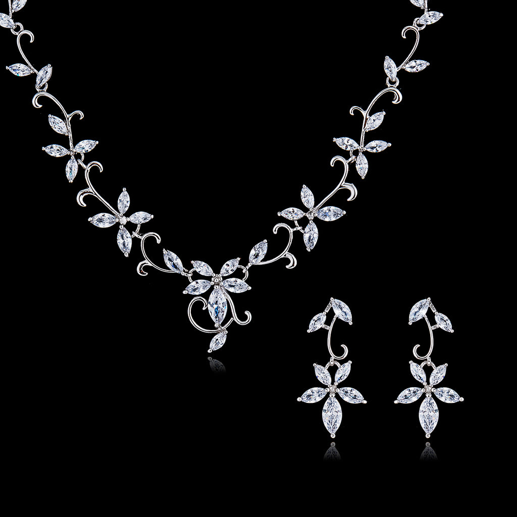 Cubic zirconia bride wedding necklace earring set top quality  CN10042 - sepbridals