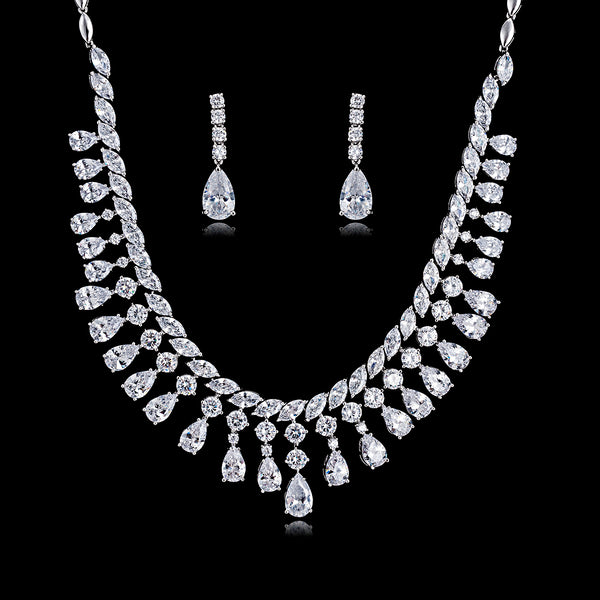 Cubic zirconia bride wedding necklace earring set top quality  CN10179 - sepbridals