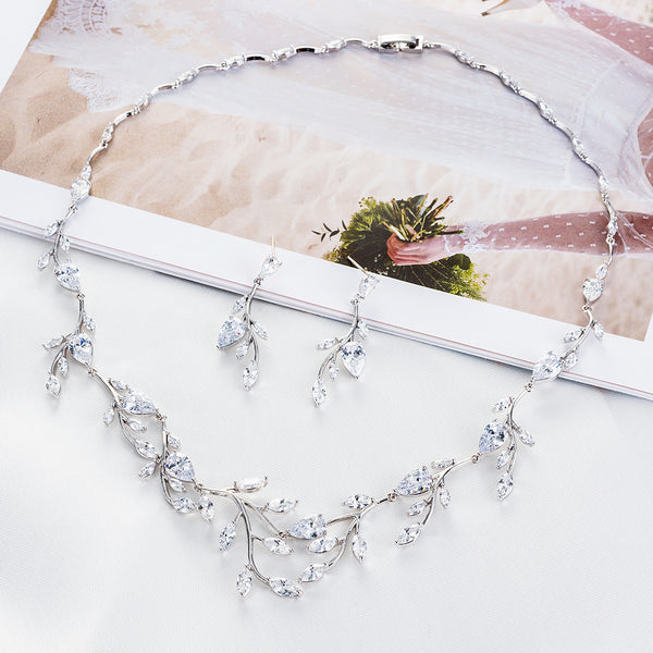 Cubic zirconia bride wedding necklace earring set top quality CN10124 - sepbridals