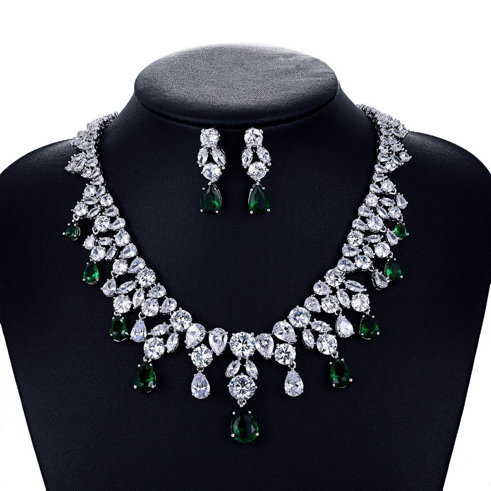 Cubic zirconia bride wedding necklace earring set top quality CN10126 - sepbridals
