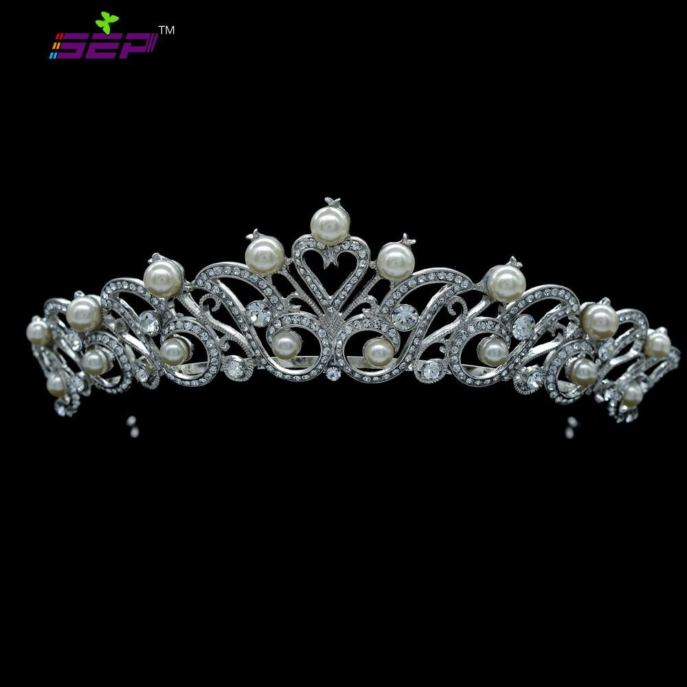 Austrian Rhinestone Crystals Imitated Pearl Bridal Wedding Tiara Crown SHA8619 - sepbridals