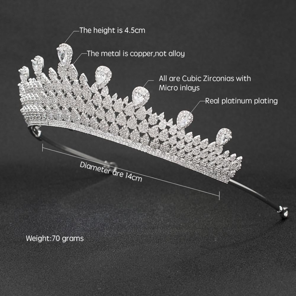 Cubic zircon wedding  bridal royal tiara diadem crown CH10058 - sepbridals